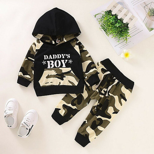 Baby Clothes Sets Newborn Infant Baby Boy Letter Hoodie T Shirt Tops