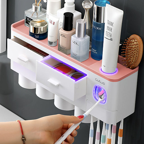 Set Toothbrush Holder Automatic Toothpaste Dispenser