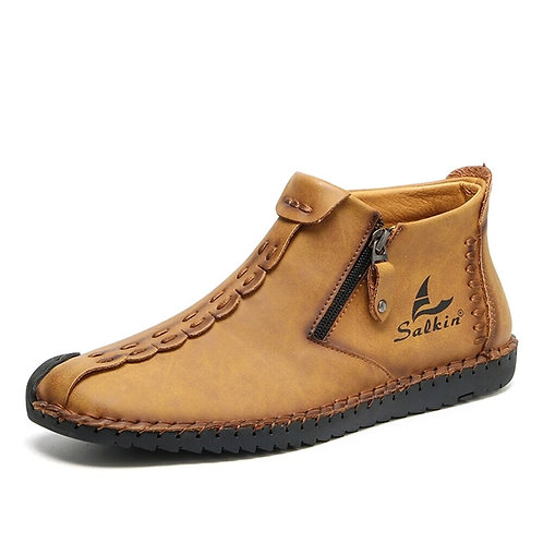 Leather Shoes Men Sneakers Casual Slip on Loafers Men Zip Soft Leather