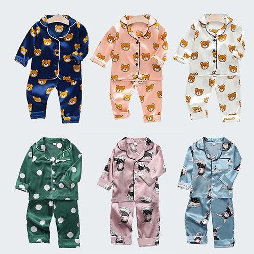 Kids Pajamas Girls Boys Long Sleeves Fall Winter Clothes Cartoon Printed Silk