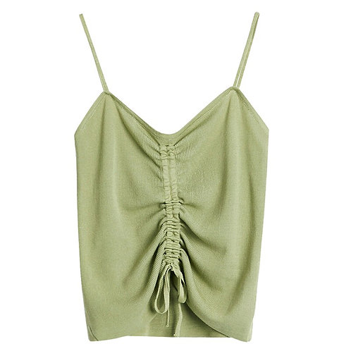 Sexy Women Drawstring Knitted Tank Top Solid All Match Casual Shor