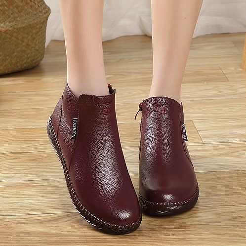 Winter Boots Female Plus Velvet Genuine Leather Shoes