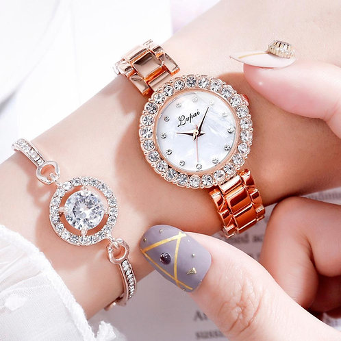 Classic Luxury Rhinestone Watch Women Watch Fashion Watch and Bracelet
