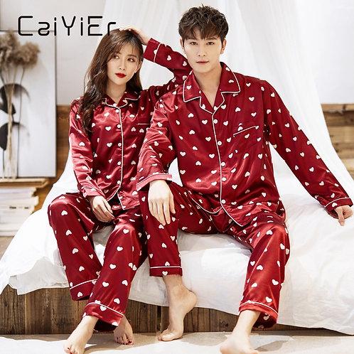 Winter Couple Pajamas Set Silk Loves Print Long Sleeve Sleepwear