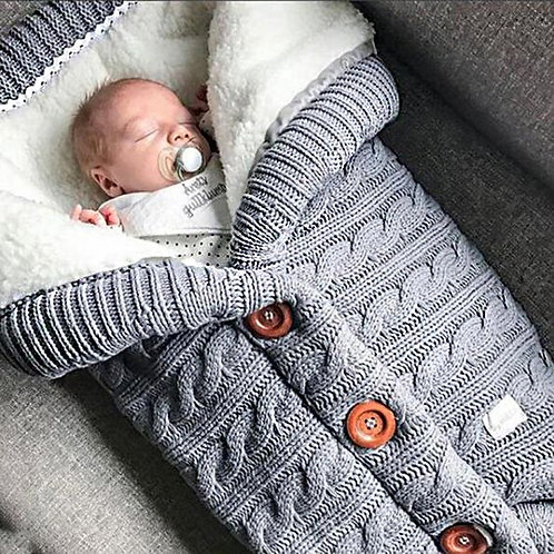 Autumn and Winter Baby Stroller Sleeping Bag Outdoor Button Baby Knitted