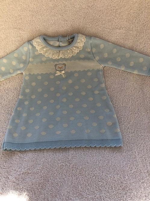 Blue spotty bear dress by A&J Baby