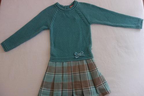 Aqua plaid and knit dress