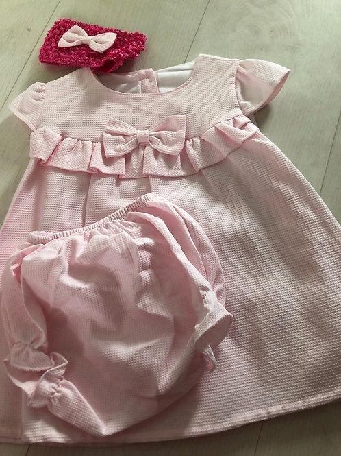 Pink dress, hairband and knicker set