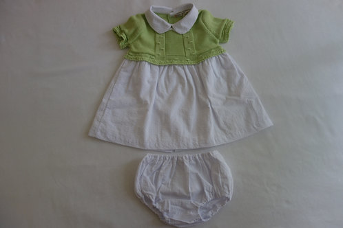 Green and white dress with matching knickers