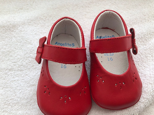 Angelitos red leather baby shoes