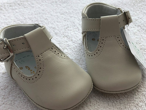 Aladino beige leather T-bar shoes