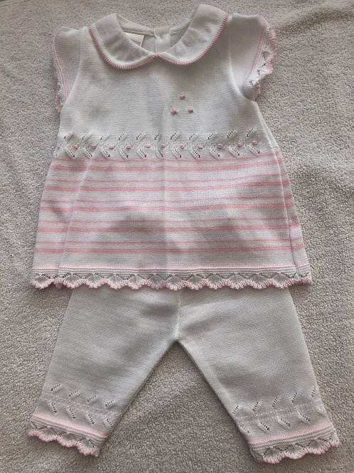 White and pink knitted 2 piece set