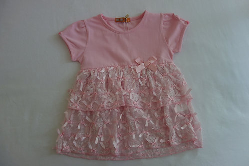 Pink dress with ribbon details