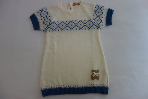 Knitted tunic dress with bear design
