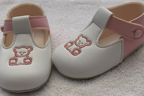 White and pink bear shoes