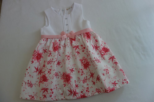 Pink and white dress with flower and bird print