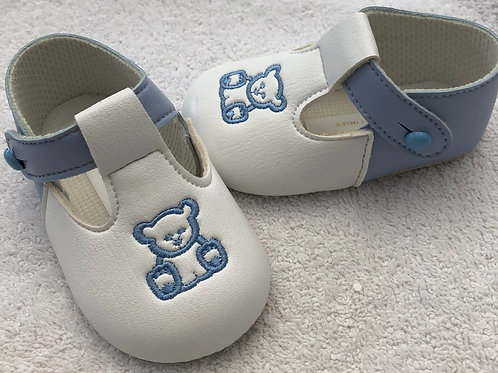 White and blue teddy shoes