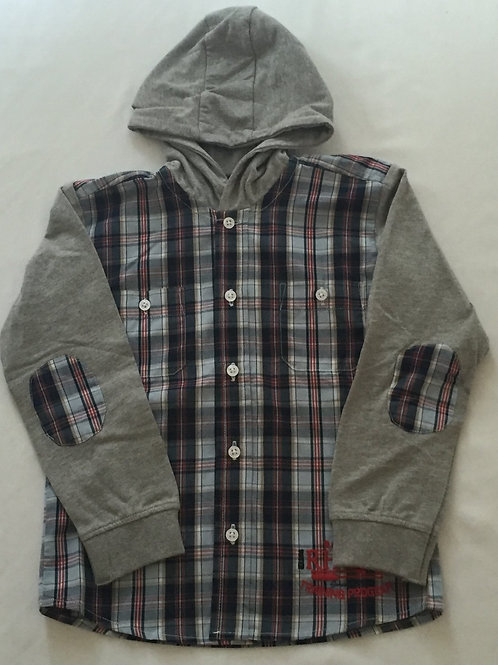 Checked hooded top
