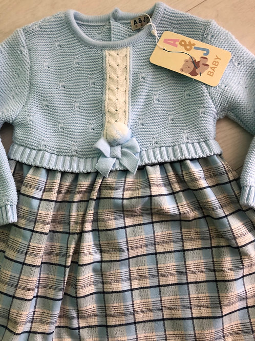 A&J Baby knitted plaid dress
