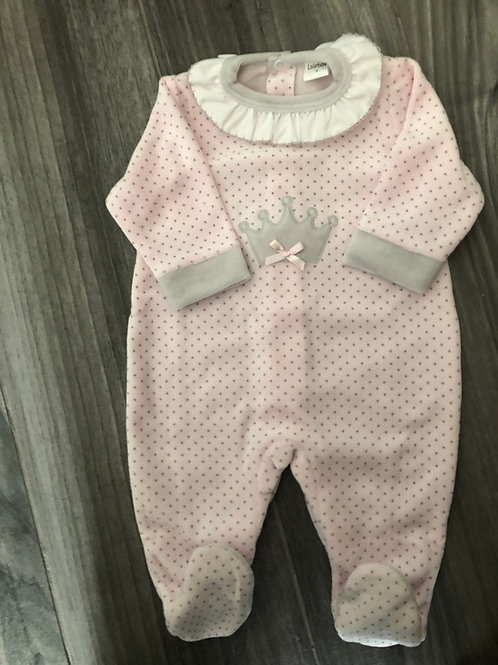 Velour Princess sleepsuit