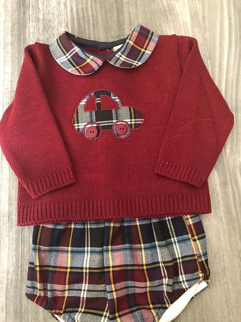 Knitted car tartan set