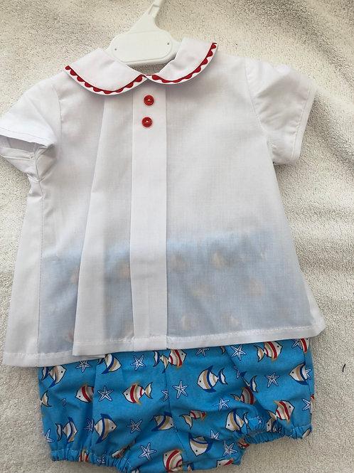 Fish shirt and short set