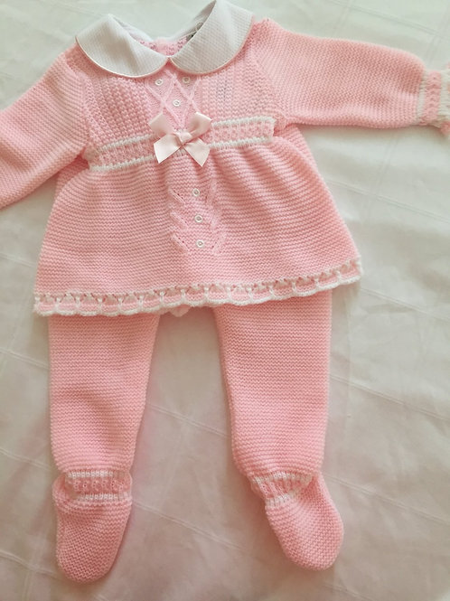 Knitted pink two piece set