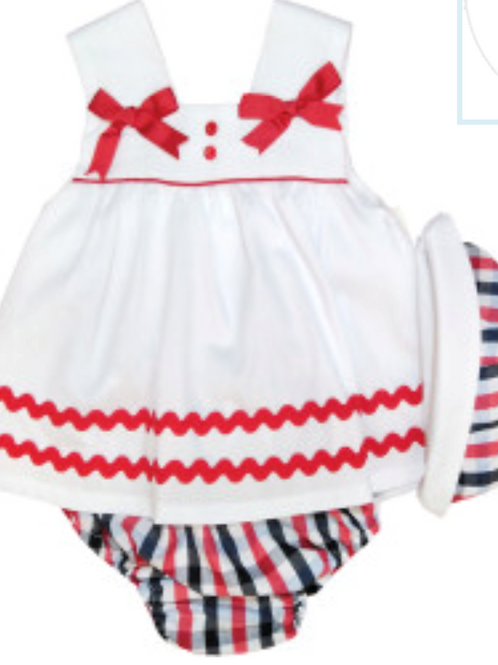 Red and white dress and hat set