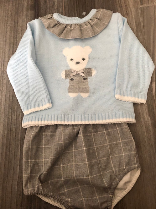 Knitted bear outfit - jumper and shorts.