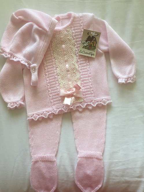 Pink 3 piece knitted outfit