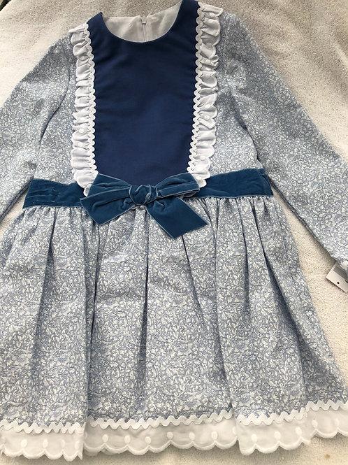 Blue floral and velvet dress
