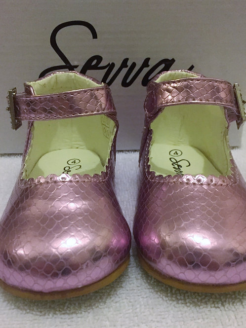 Metallic pink shoes with diamontes