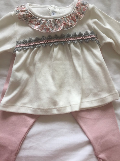 Girl's 2 piece cream outfit