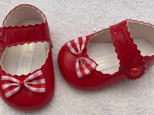 Red patent baby shoes with red and white gingham bow