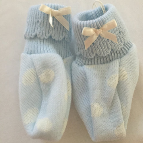 Spotted blue baby booties