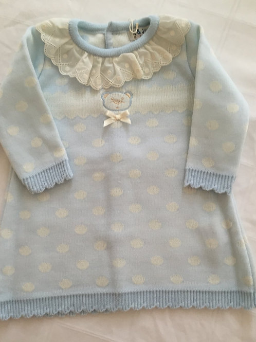 Teddy bear blue spotty dress