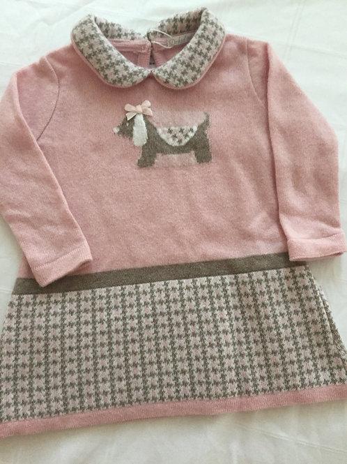 Pink dog motif dress