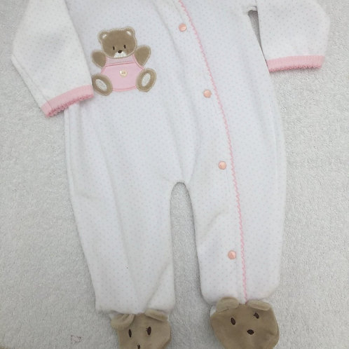 Pink and white bear sleepsuit