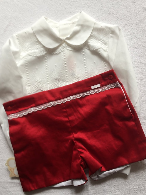 Red and ivory shorts and shirt set
