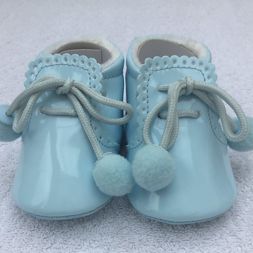Baby blue patent booties