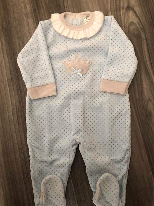 Boys Prince velour sleepsuit