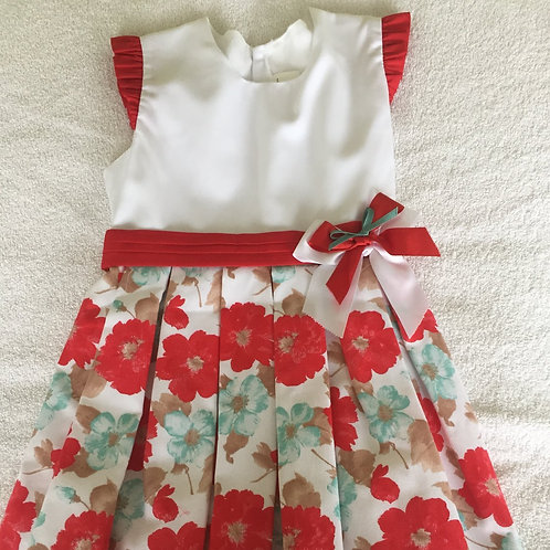 Red and white floral print dress