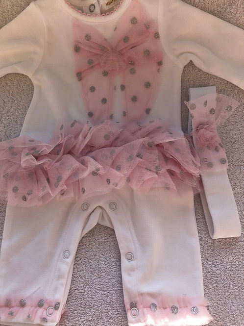 Mintini pink and white sparkly romper set
