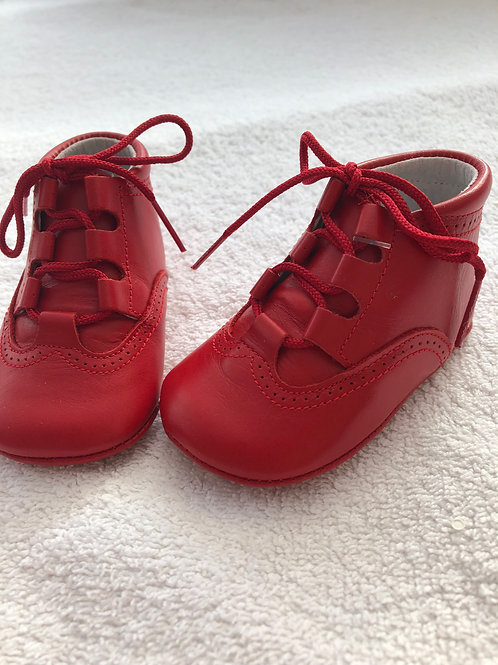 Red leather baby boots by Aladino