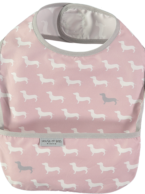 House of Bibs Pink and Grey Dog Bib