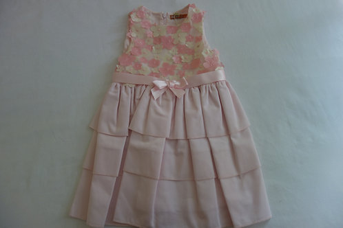 Pink dress with pink and cream applique flowers