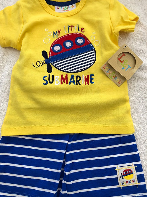Lily and Jack short and shirt set with submarine
