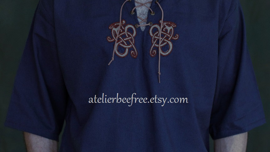 Summer blue  linen shirt short sleeves Viking dragons embroidery