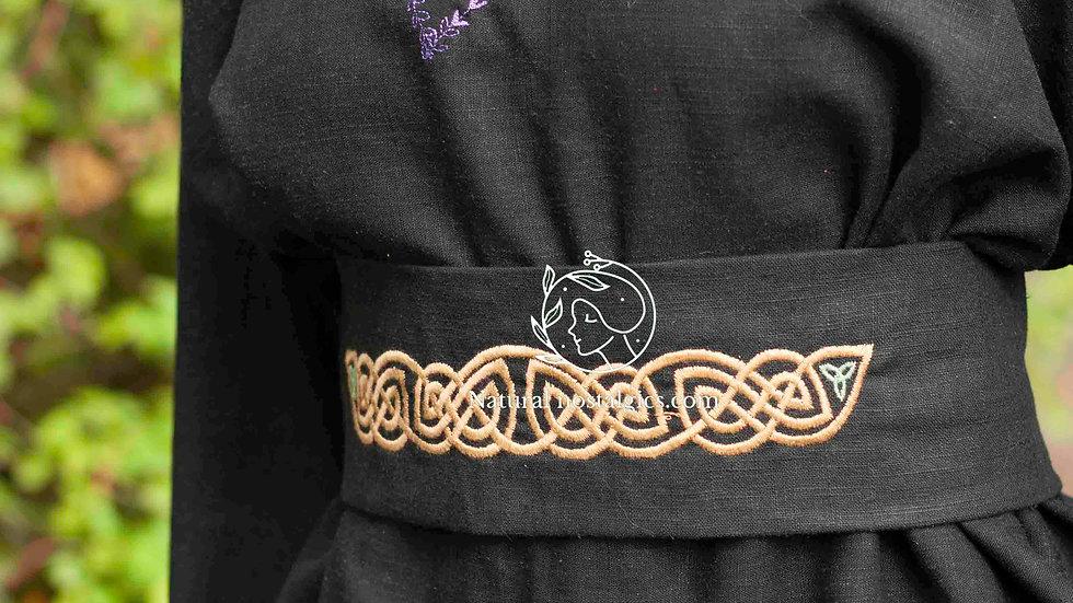Black linen women kimono top medieval blouse with celtic embroidery belt