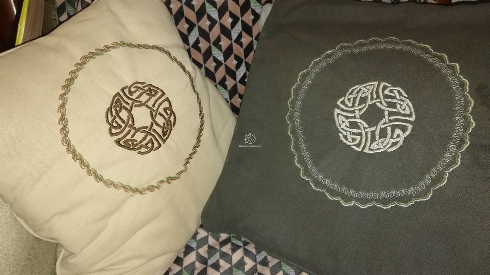 Pillow case for bed decoration with celtic medieval embroidery